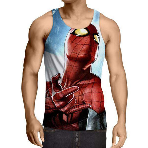 3D Printed Shooting Webs Spiderman Tank Top - S