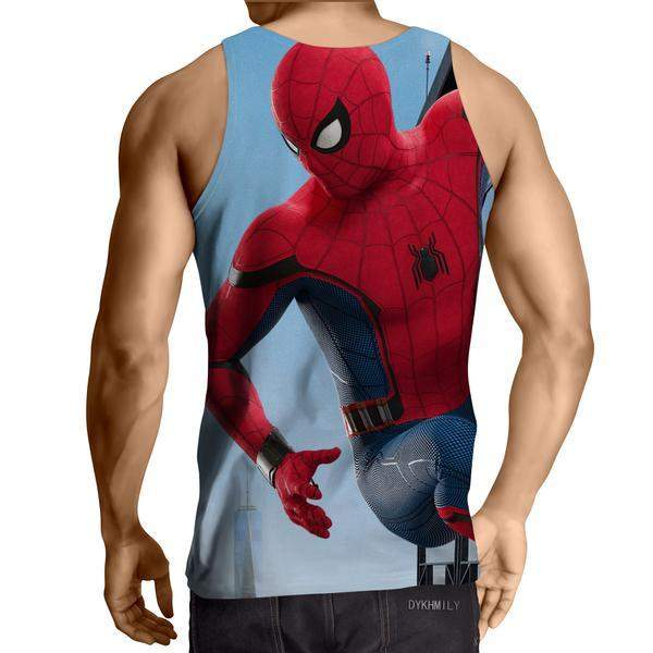 Hanging Spiderman Red & Blue 3D Printed Tank Top