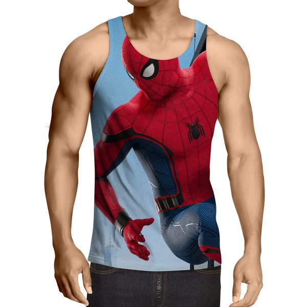 Hanging Spiderman Red & Blue 3D Printed Tank Top - Anime Wise