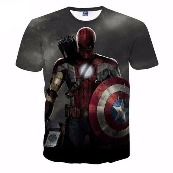Comic Marvel Avengers T-Shirt Men Superhero Captain America Spider Man Iron Man T-shirt