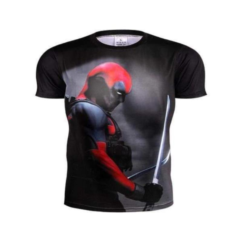 Deadpool Sleek Black Stitched 3D Printed Deadpool T-Sirt