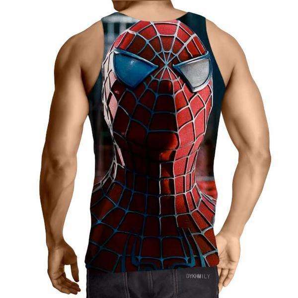 Spiderman Classic Face Print 3D Printed Tank Top - Anime Wise