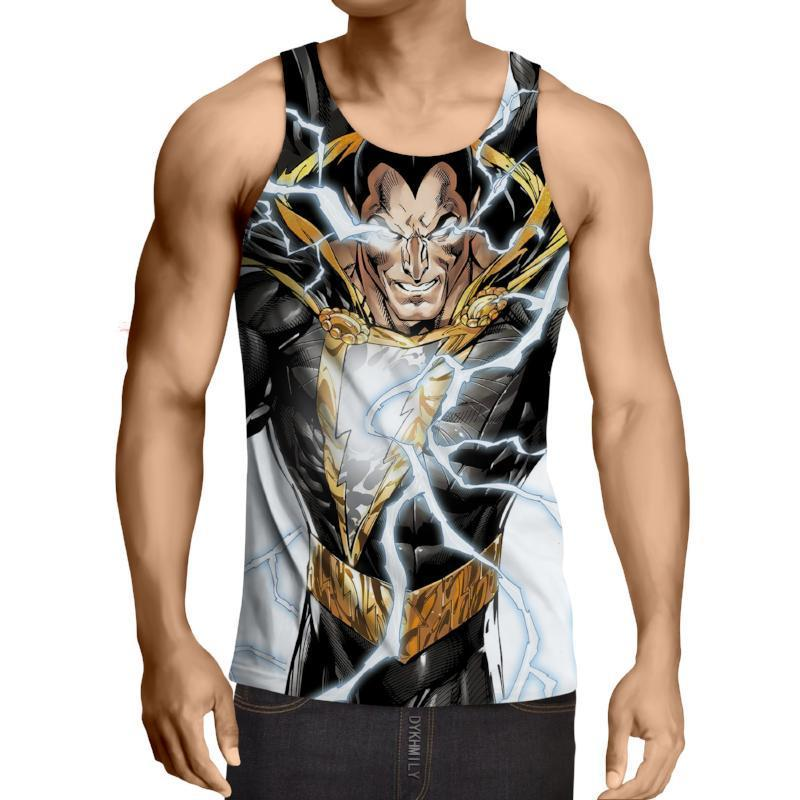 Shazam Black & Gold Shazam 3D Printed Tank Top - Anime Wise