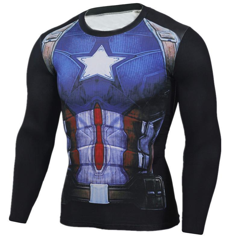 Captain America Shirt Black & Blue Long Sleeve Shirt