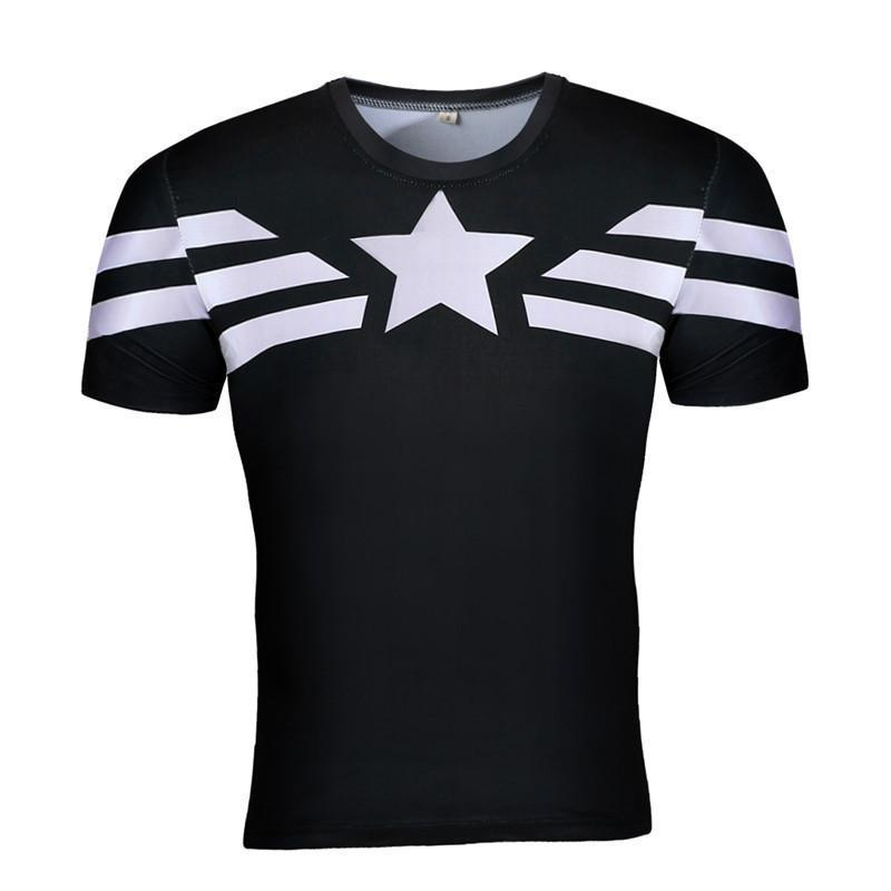 Captain America Tee: 3D Printed Black & White Captain America T-Shirts