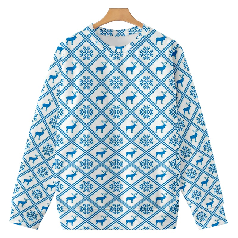 Christmas Moose Scandinavian Pattern Brushed Sweatshirt