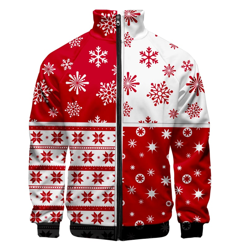 Christmas Premium Brushed Cool Crossover Pattern Christmas Sweatshirt Jacket