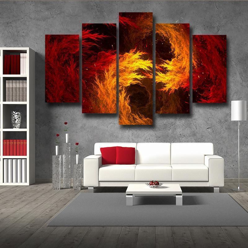 Cool Fiery Themed 3D Printed Anime Canvas - Anime Wise