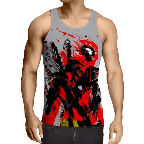 Deadpool Gray Water Paint Style 3D Printed Tank Top - Anime Wise