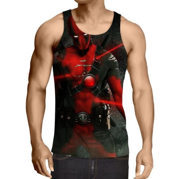 Laser Badass Deadpool 3D Printed Tank Top - Anime Wise