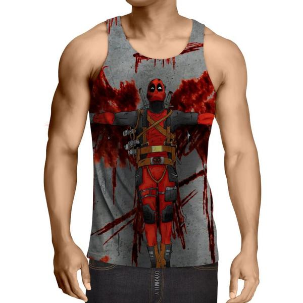 Bloody Deadpool Art 3D Printed Tank Top - Anime Wise