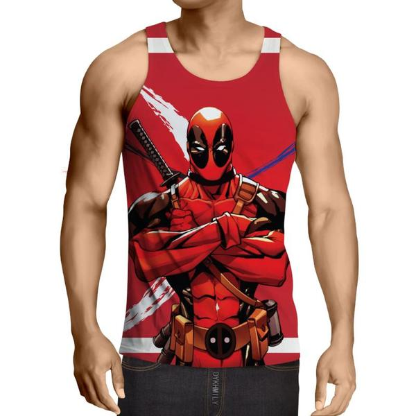 Deadpool Red Cool Art 3D Printed Tank Top - Anime Wise
