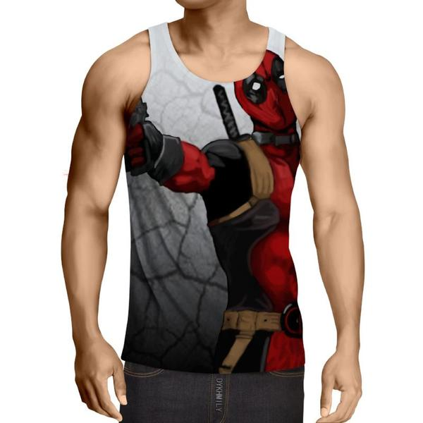 Deadpool Gray Broken Wall 3D Printed Tank Top - Anime Wise
