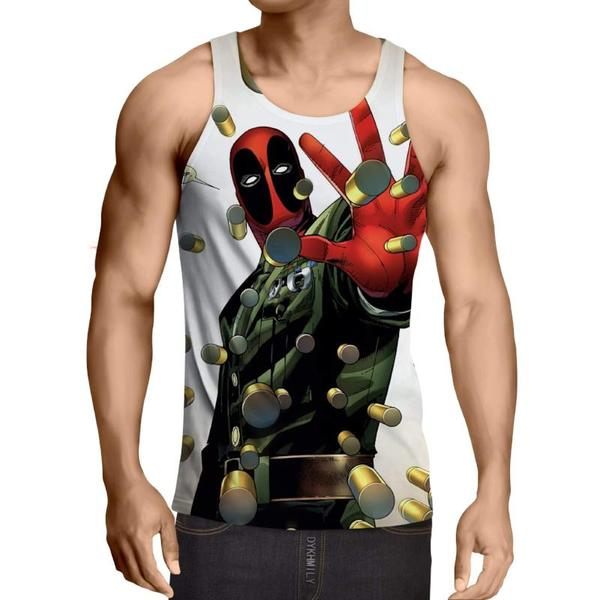Deadpool 2 Matrix Style White 3D Printed Deadpool Tank Top - Anime Wise