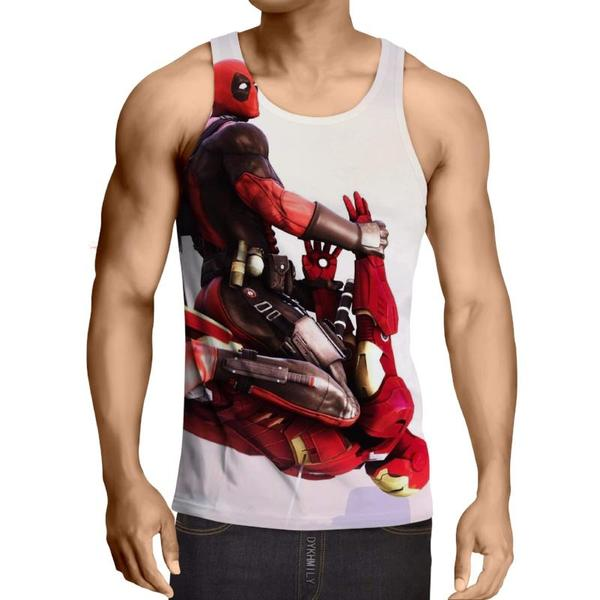 Deadpool VS Iron Man Fight 3D Printed Tank Top - Anime Wise