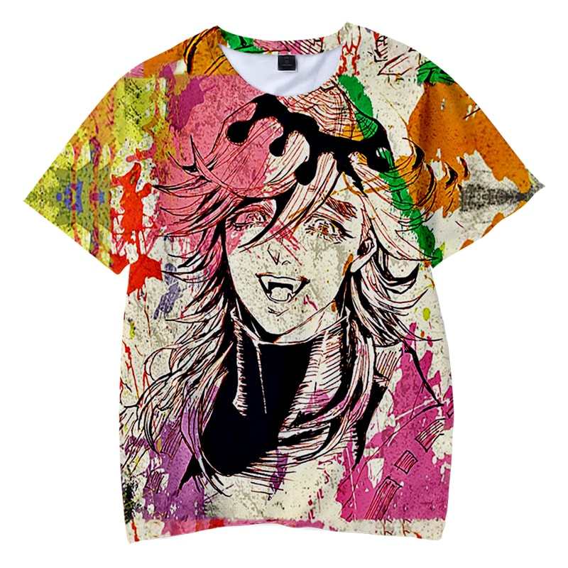 Douma Color Splatter Paint Brushed Demon Slayer Kimetsu No Yaiba T-Shirt