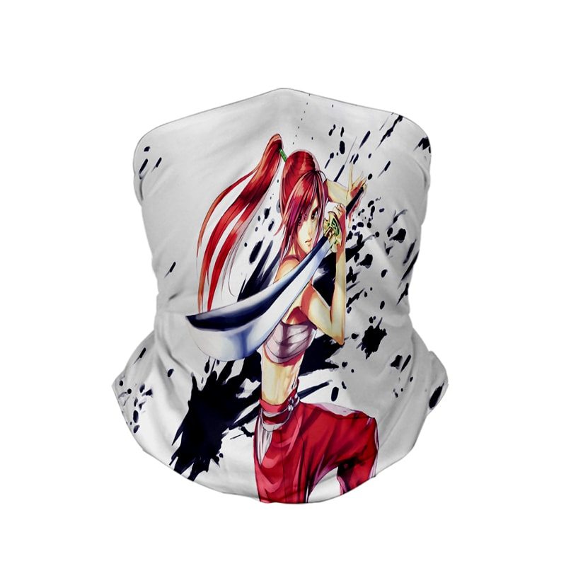 Erza Scarlet  Clear Heart Clothing Embossed Ink Neck Gaiter Bandanna Scarf Fairy Tail Neck Gaiter Bandanna Scarf