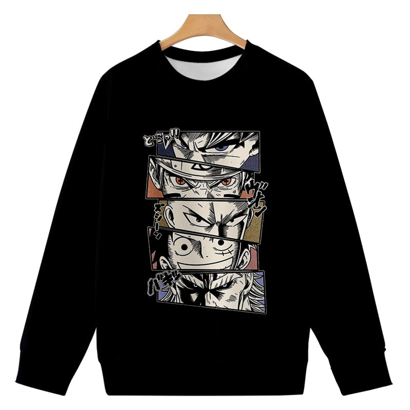 Eyes Of Anime Legends Round Collar Casual Sweatshirt