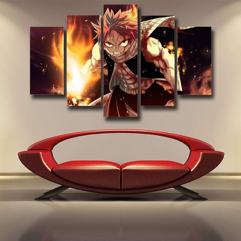 Fairy Tail Canvas 3D Printed Natsu Fire Dragon Smash - Anime Wise