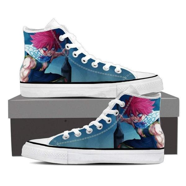 Natsu Blue Converse Unisex Angry Fairy Tail Sneaker Shoes - Anime Wise