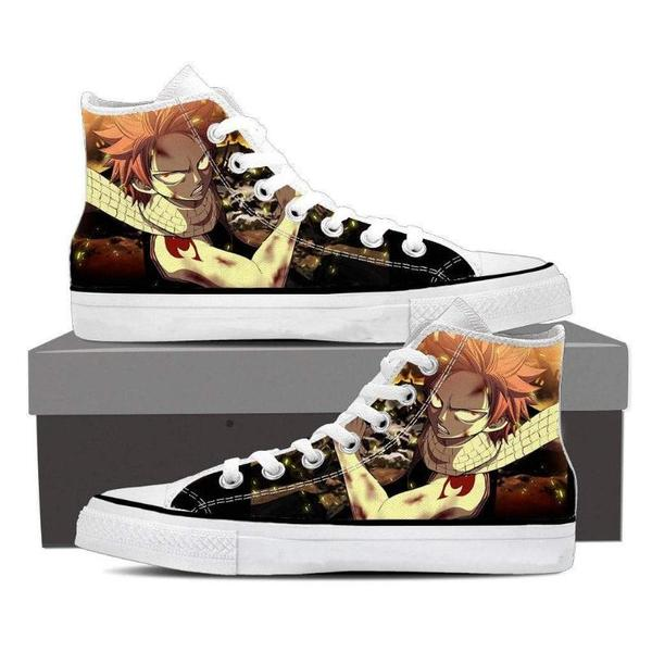 Brown Magnolia Customized Angry Natsu Fairy Tail Sneaker Shoes - Anime Wise