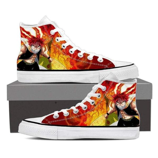 Natsu Art Converse Unisex Angry Natsu Fairy Tail Sneaker Shoes - Anime Wise