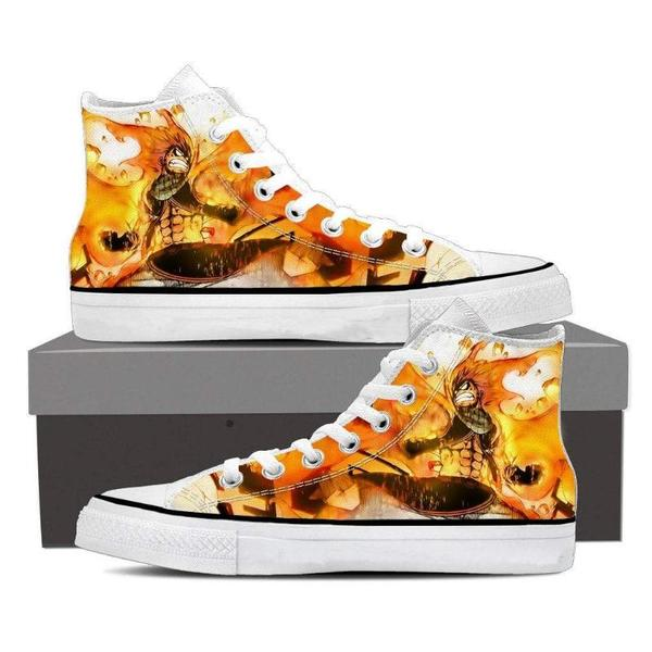 Fairy Tail Converse Unisex Dragneel Natsu Fired up Fairy Tail Sneaker Shoes - Anime Wise