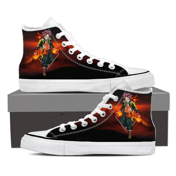 Natsu Black Converse Unisex 3D Printed Fairy Tail Shoes - Anime Wise