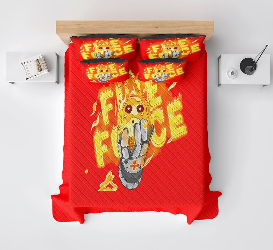 Fire Force Ball Iron Owls Modern Pattern Stitched Fire Force Bedding