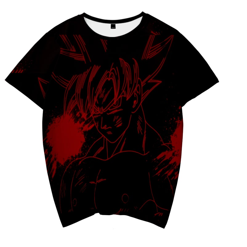 Goku Dark Red Saiyan Sketch Flames Dragon Ball T-Shirt