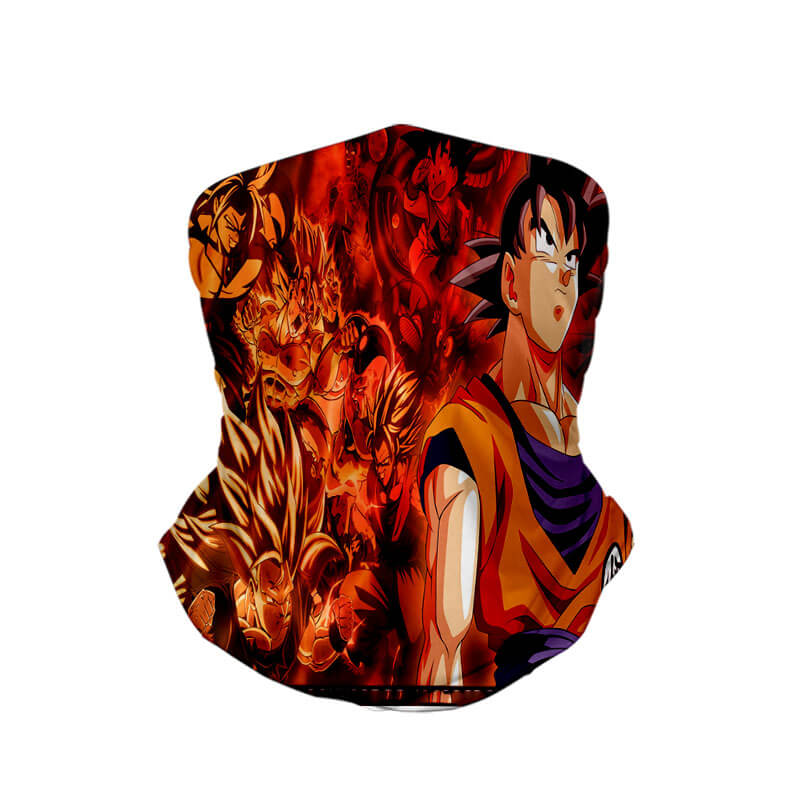 Goku Super Saiyan Levels Dragon Ball Neck Gaiter Face Shield Bandanna Scarf