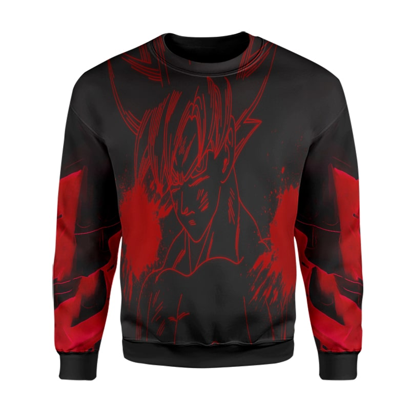 Goku Dark Red Saiyan Sketch Flames Dragon Ball Super Sweatshirt