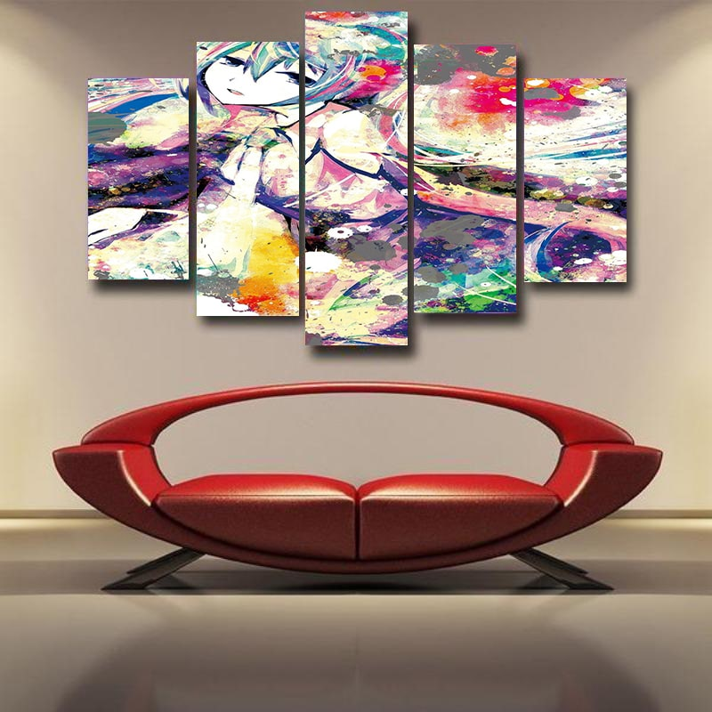 Hatsune Miku Abstract Paint Art Vocaloid 3D Canvas