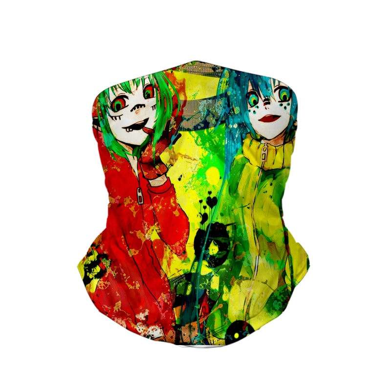 Hatsune Miku Crazy Double Act Color Splatter Vocaloid Neck Gaiter Bandanna Scarf