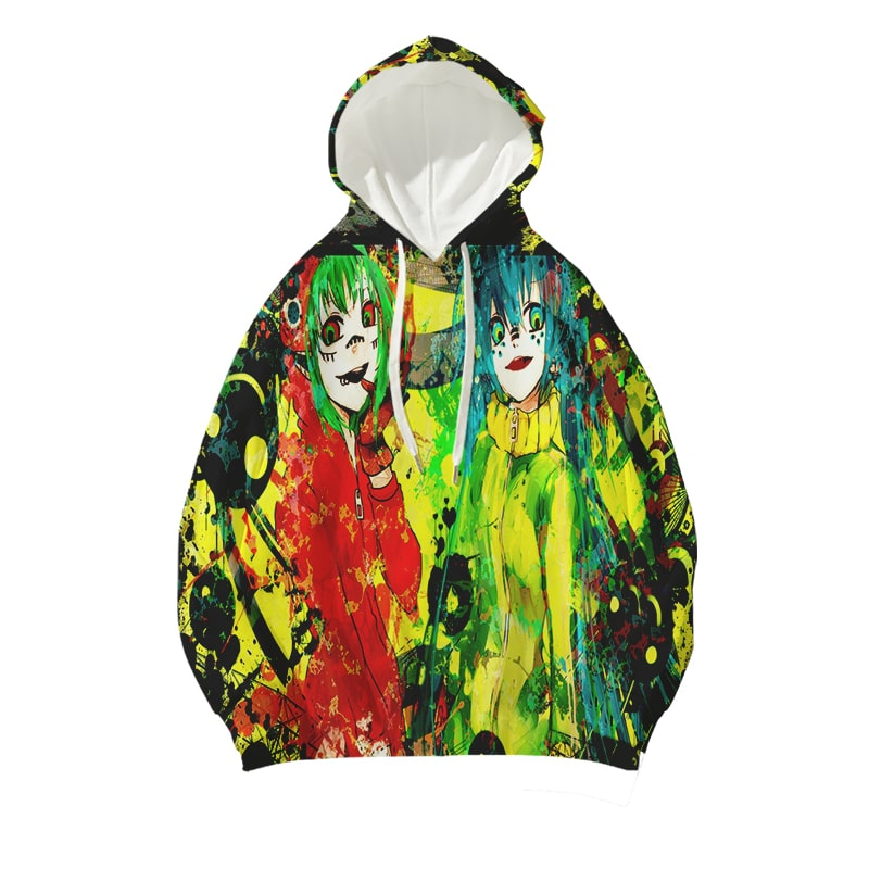 Hatsune Miku Crazy Double Act Color Splatter Vocaloid Hoodie