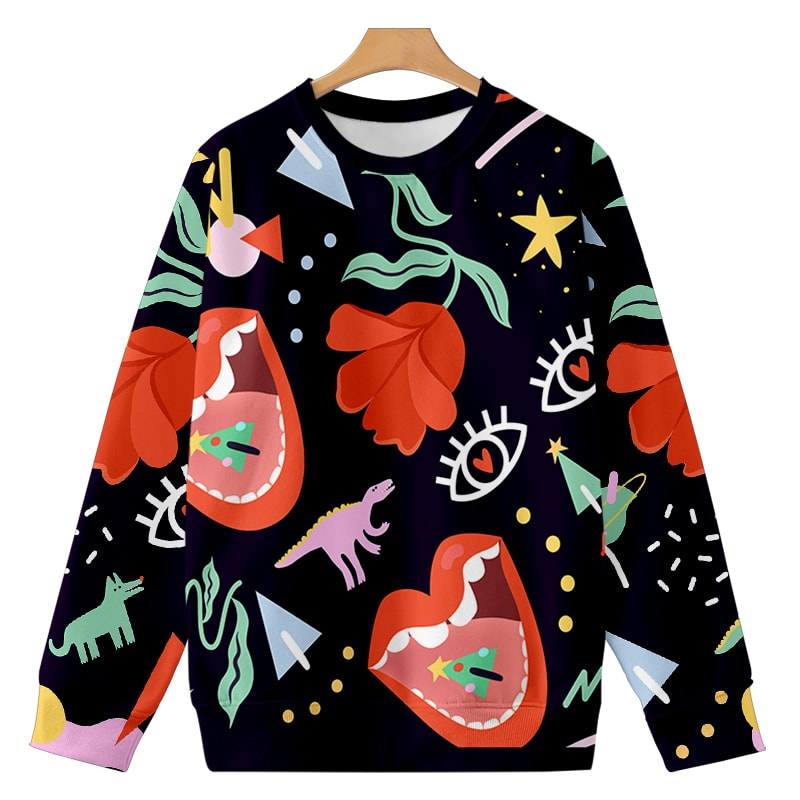 Holiday Hip Floral Outlook Cool Casual Sweatshirt