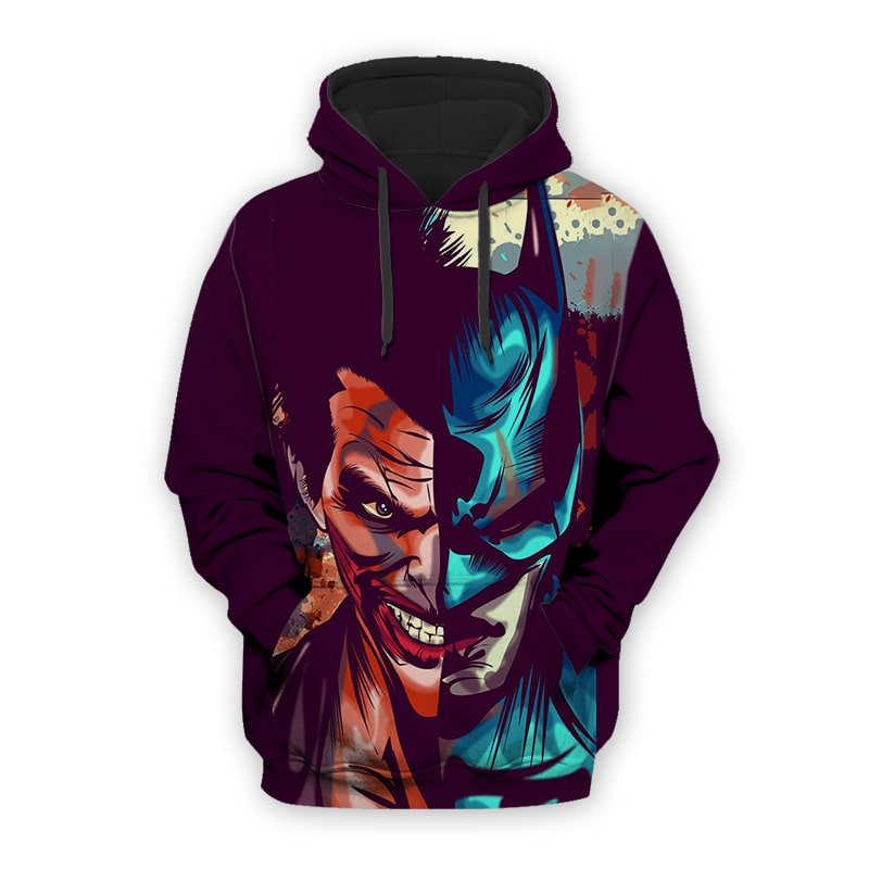Batman Joker Face Off Color Crossover Comics Hoodie