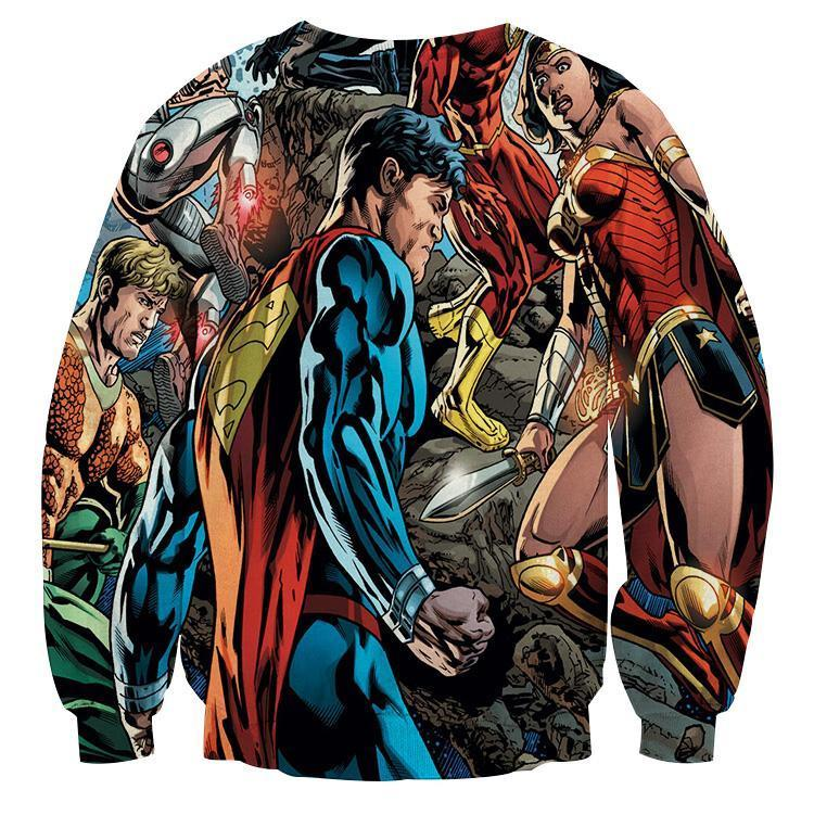 Justice League Blue red 3D Printed Justice League Sweatshirt - Anime Wise