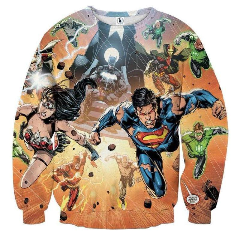 Justice League Orange 3D Printed Justice League Sweatshirt