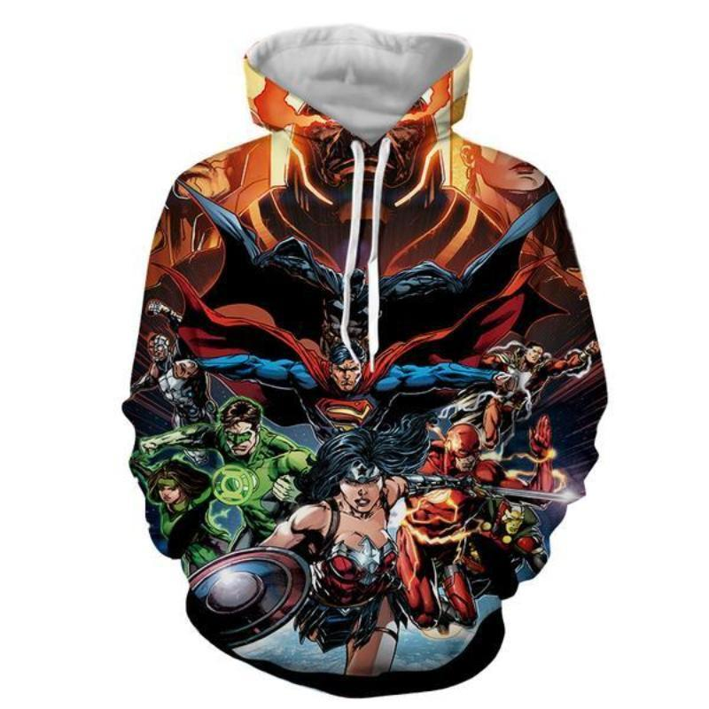 Justice League orange 3D Printed Justice League Hoodie