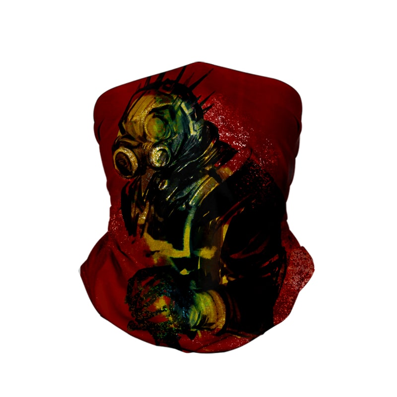 Kaiman Ink Splatter Dorohedoro Neck Gaiter Face Shield Bandanna Scarf