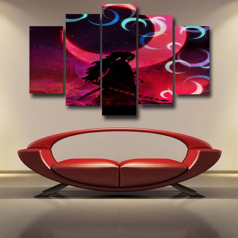 Kokushibou Lonely Samurai Demons Demon Slayer Kimetsu no Yaiba 3D Canvas