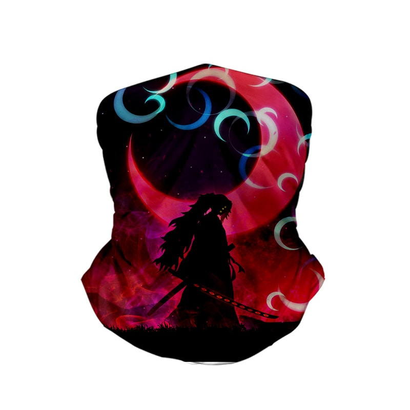Kokushibou Upper Moon Demon Samurai Demon Slayer Neck Gaiter Face Shield Bandanna Scarf
