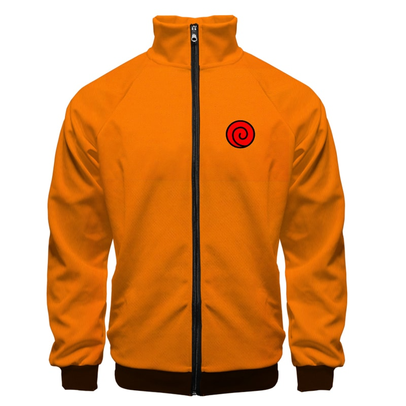 Naruto Uzumaki Classic Orange Uzumaki Logo Naruto Zip Up Sweatshirt Jacket