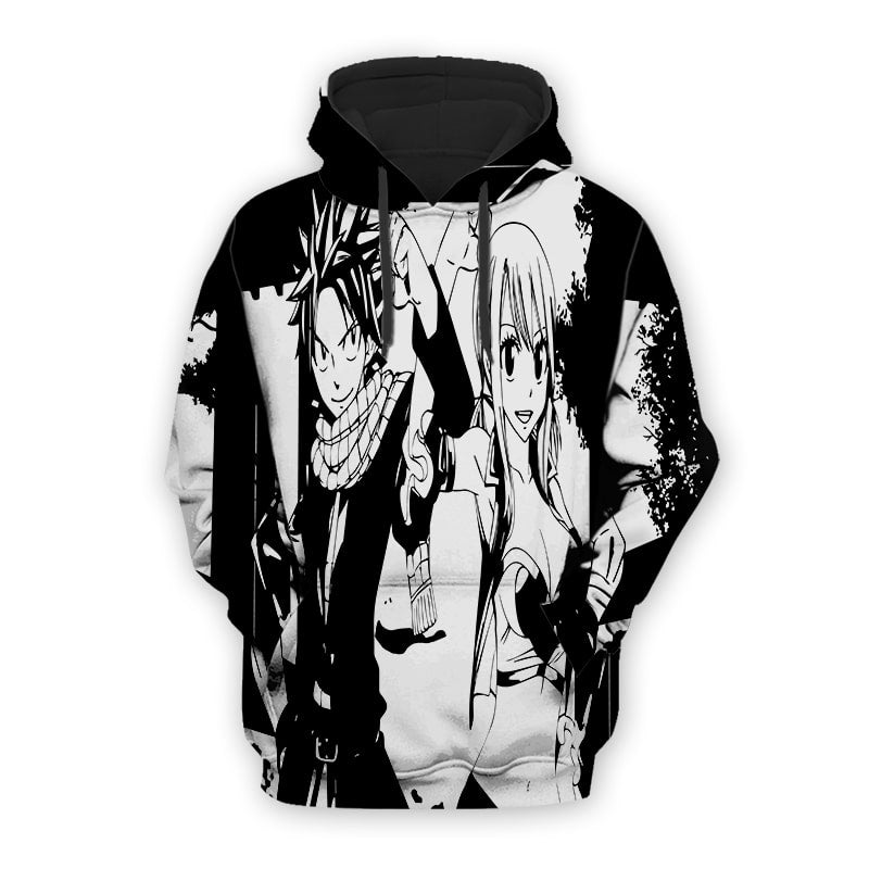 Fairy Tail Lucy and Natsu Blaack & White Fairy Tail Hoodie