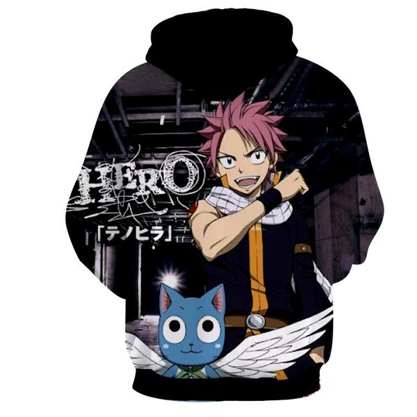 Natsu Black Talking Cat 3D Printed Fairy Tail Zip Up Magic Hoodie - Anime Wise