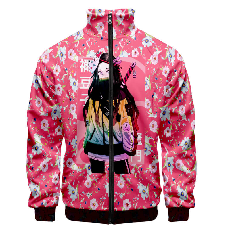 Nezuko Kamado Floral Pink Urban Hip Hop Style Demon Slayer Kimetsu No Yaiba Zipper Jacket Hoodie