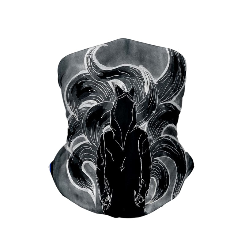 Nine Tail Fox Dark Brushed Neck Gaiter Face Shield Bandanna Scarf