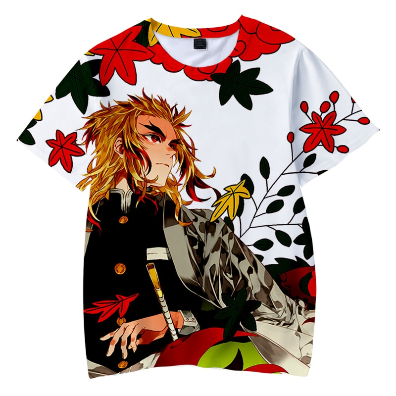Rengoku Kyojuro Floral Art Demon Slayer Kimetsu No Yaiba T-Shirt