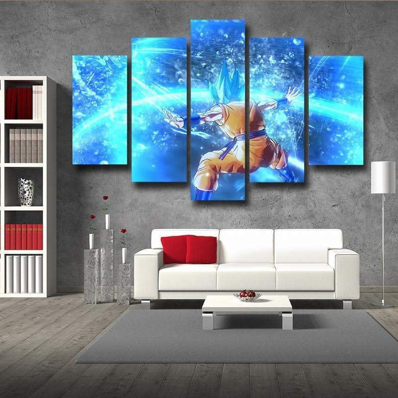 SSJ Goku Blue 3D Printed Goku Canvas - Anime Wise